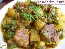 Meat and potatoes with salt bush