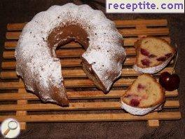 Delicious sponge cake with cherries