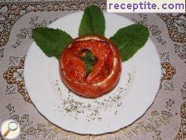 Stuffed tomatoes with cottage cheese and feta cheese Gouda