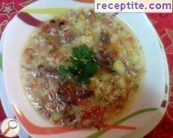 False kurban soup with beef and chicken