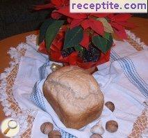 Brown bread with walnuts and garlic bread machine