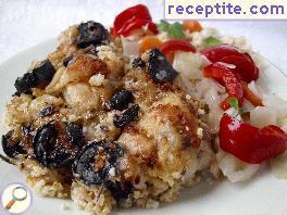 Chicken with bulgur or rice and olives