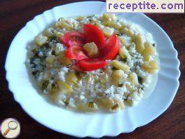 Zucchini with rice and onion
