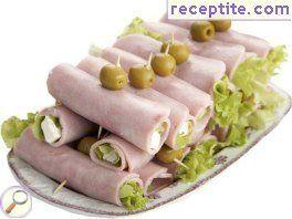 Appetizer of ham and cheese