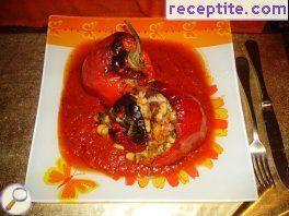Stuffed peppers with beans and bacon