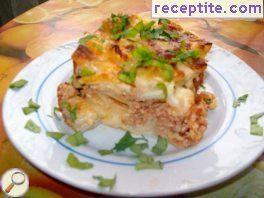 Moussaka with minced meat and macaroni
