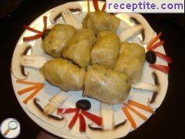 Vegan cabbage dolmas with mushrooms