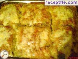 Banitsa meat and mushrooms