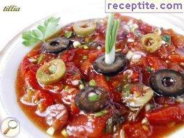 Salad of roasted peppers and tomatoes
