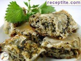 Vegan banitsa nettles and bulgur