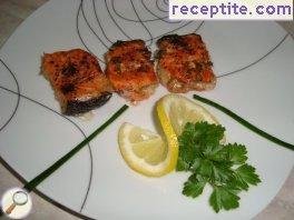 Roasted salmon with wine