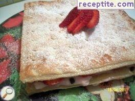 Layered cake with strawberry cream Diplomatique
