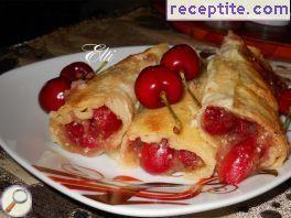 Pancakes with cherries oven