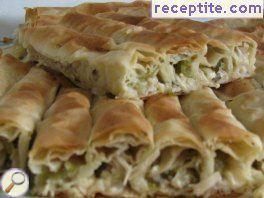 Savory strudel with enoki mushrooms