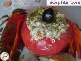 Stuffed tomatoes with feta cheese and roasted peppers