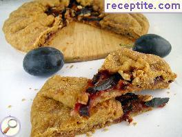 Shortcake with vegan cookie dough and plums