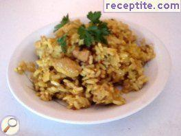 Spicy rice with apples and meat