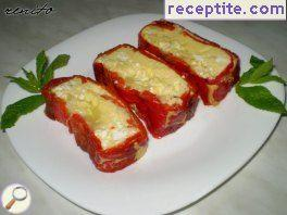 Roll of roasted peppers with feta cheese and egg