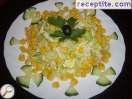 Salad with cabbage and corn