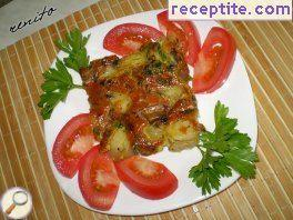 Mushrooms with potatoes in the oven