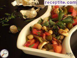 Chickpea Salad with roasted garlic and balsamic reduction