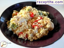 Chicken with mushrooms and bulgur
