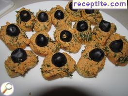 Canapes with salmon pate