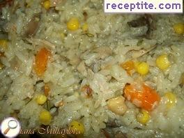 Risotto with chickpeas, mushrooms and vegetables