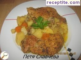 Pork chops with mushrooms potatoes in milk