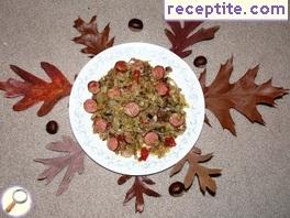 Sausage with cabbage and mushrooms