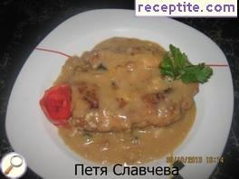 Chops in breading mushroom and mushroom sauce