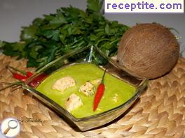 Green coconut soup with salmon
