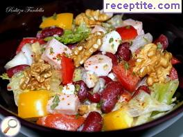 Kasler salad with eggs, beans and walnuts
