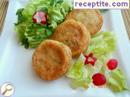 Potato patties with onions and cheese
