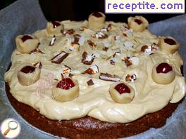 Apple cake with mayonnaise and cream with halva