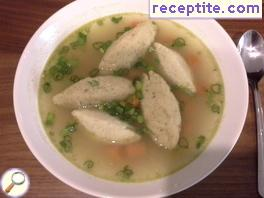 Soup with dumplings wheat semolina Griessnockerlsuppe