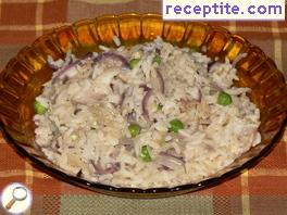 Rice with egg and two kinds of onion