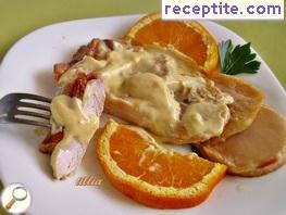 Chicken with apples and lemon (orange) sauce