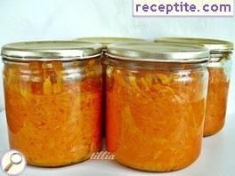 Planed pumpkin in jars