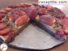Raw chocolate layered cake with nuts and fruits