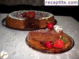 Chocolate sponge cake with cherries