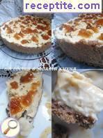 Vanilla cheesecake with walnuts and figs jam