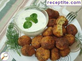 Balls of zucchini and feta cheese in Greek