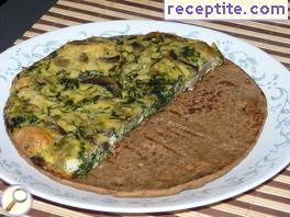 Frit with mushrooms, spinach and cheese