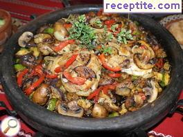 Chicken steak with colorful vegetables sach