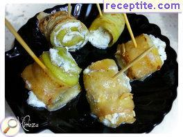 Zucchini Rolls with cottage cheese and pickles