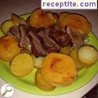 Beef topside with peaches