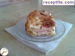 Banitsa with skinless sausage and mayonnaise