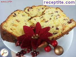 Christmas sponge cake in baking PANETONE