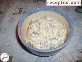 Dip with sour cream and carrots